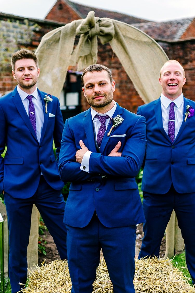 Rustic Relaxed Country Garden Wedding Blue Groomsmen Suits