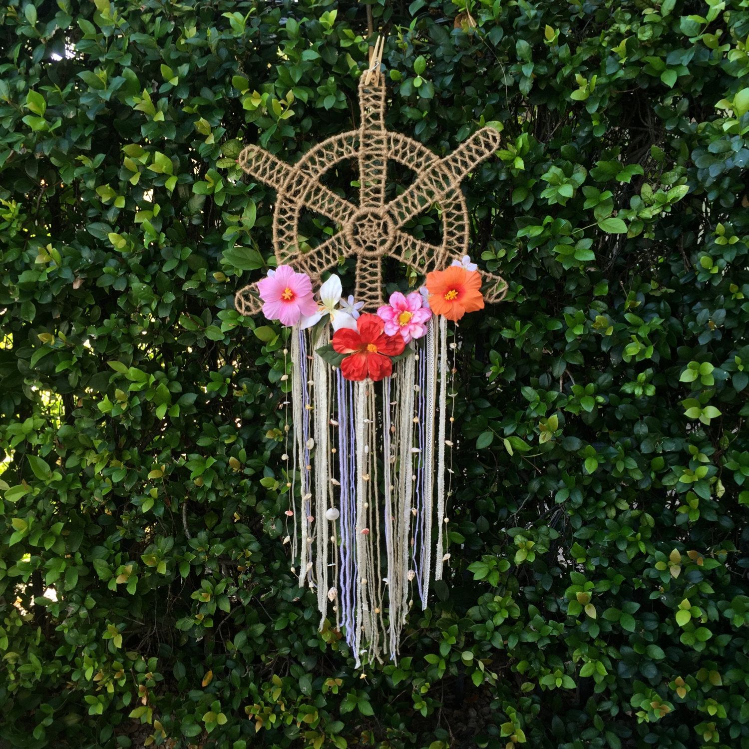 Reserved Helm Dream Catcher Tropical Floral Hibiscus Seashell
