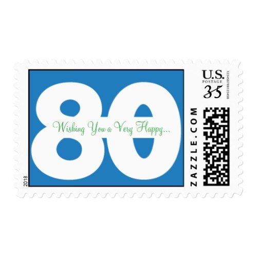 80th birthday postcard stamps in blue blue birthday party