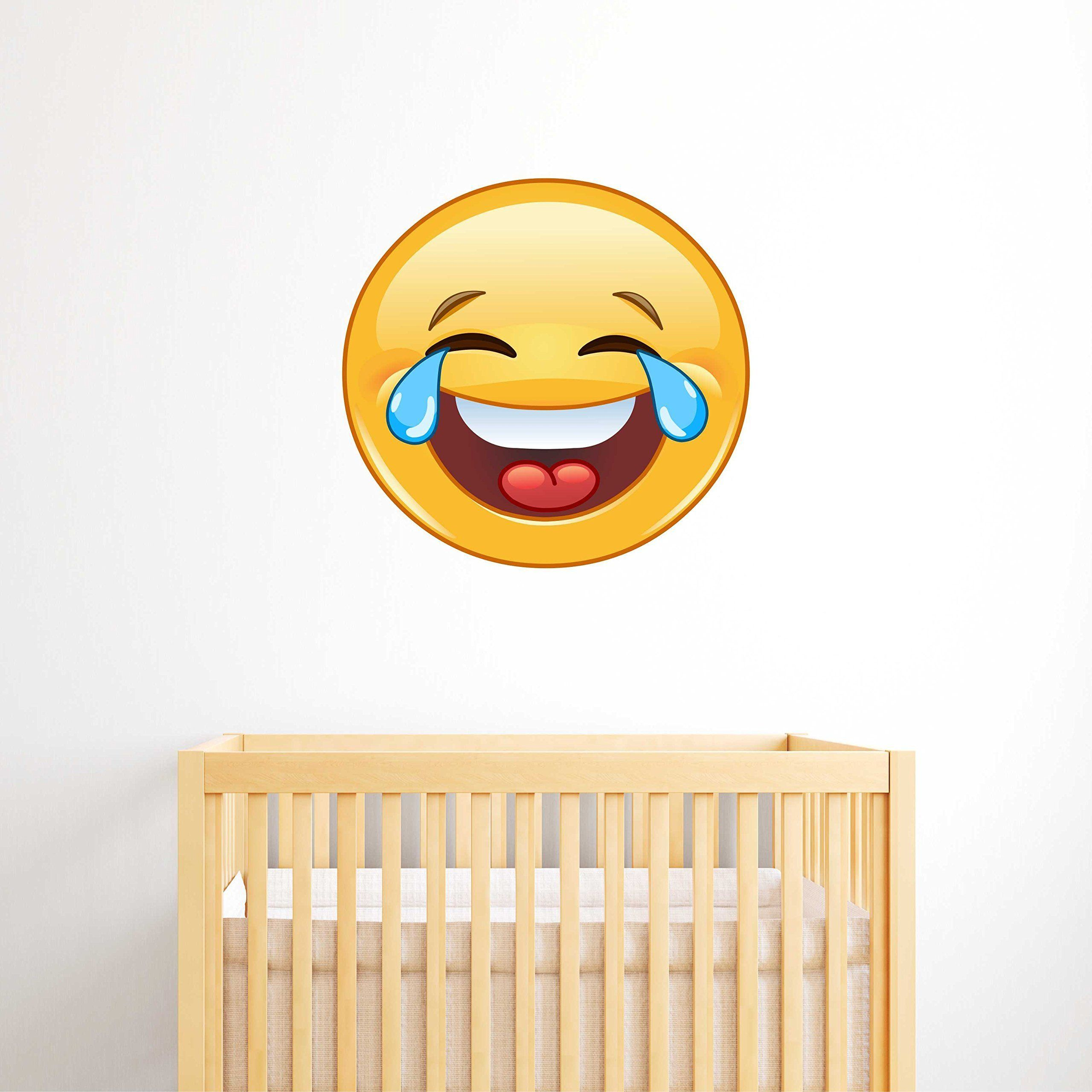 Crying Laughing Emoji Wall Decal - Kids Wall Sticker Emoticon. This ...