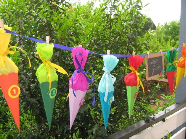 Schultüten - Überraschungsgirlande (gefüllt) zur Einschulung - ein Designerstück von Christax bei DaWanda #kleinevorgärten