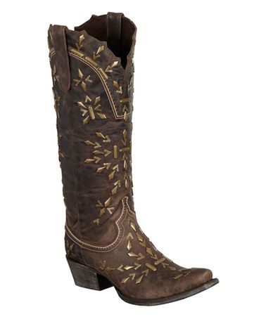 Another great find on #zulily! Brown Snowflake Leather Cowboy Boot by Lane Boots #zulilyfinds