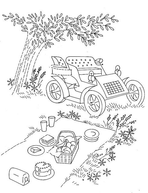 I love the vintage car in this picnic scene for Picnic scene coloring page