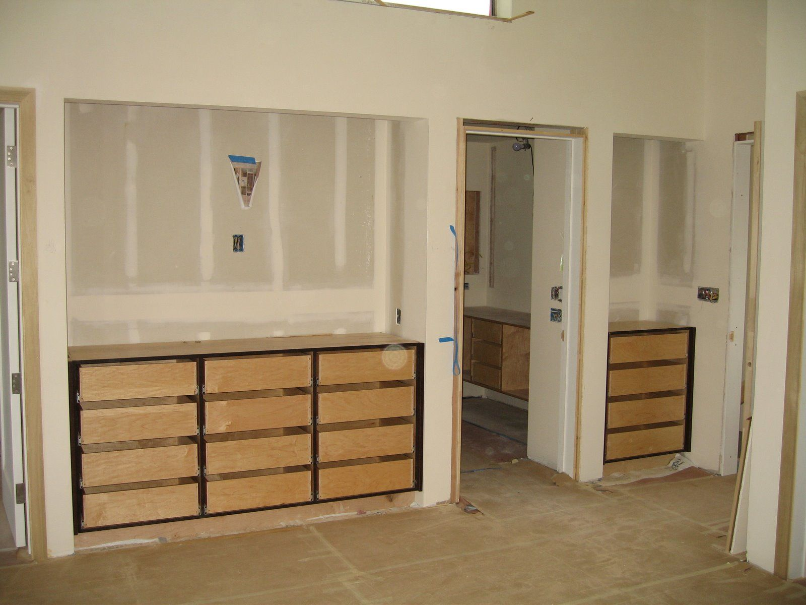 Optional built ins for tonys closet at raised dresser for Modern built in cupboards