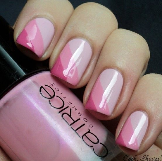 Pink Striped Ombre Nails