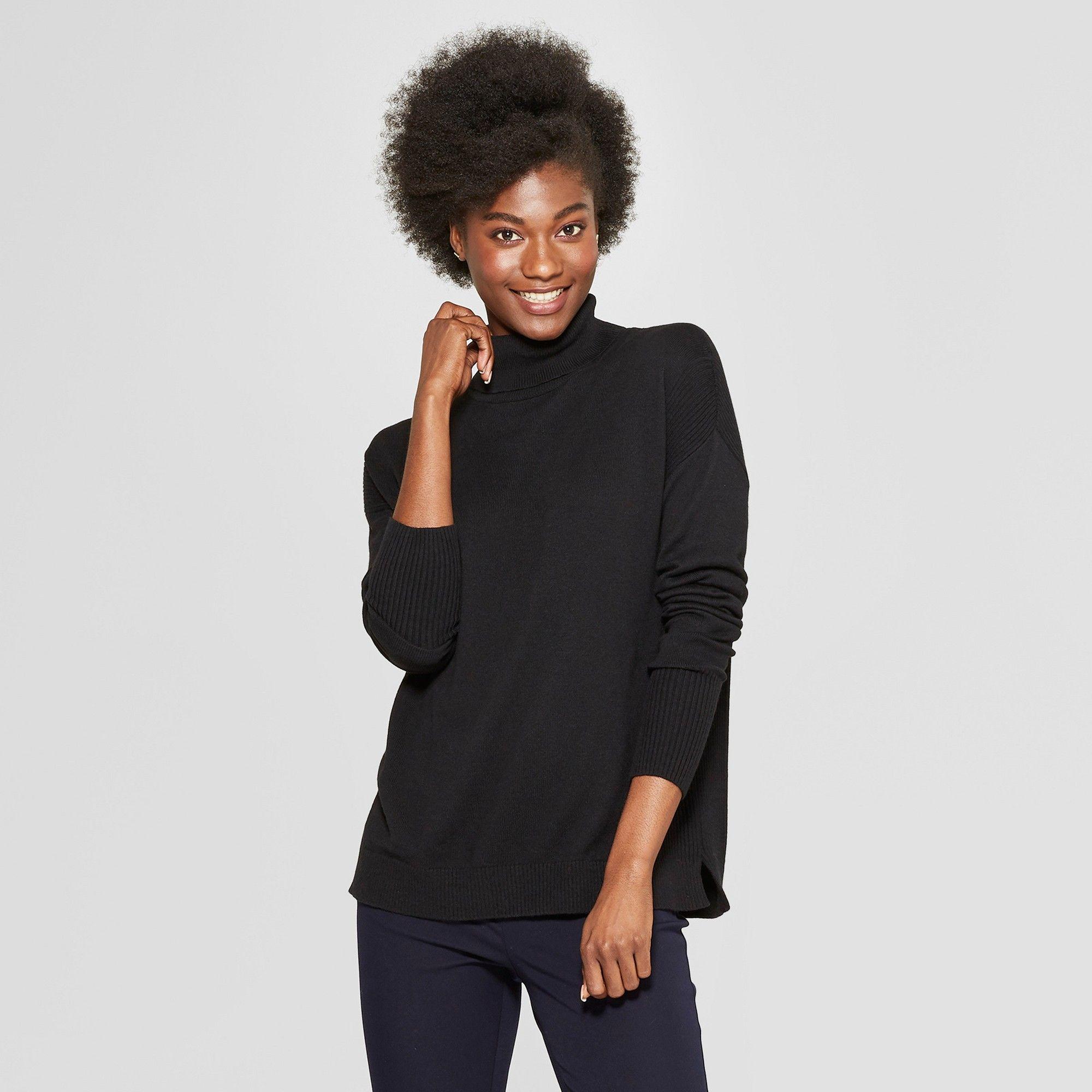 1805d4d232f Women s Turtleneck Sweater - A New Day Black L