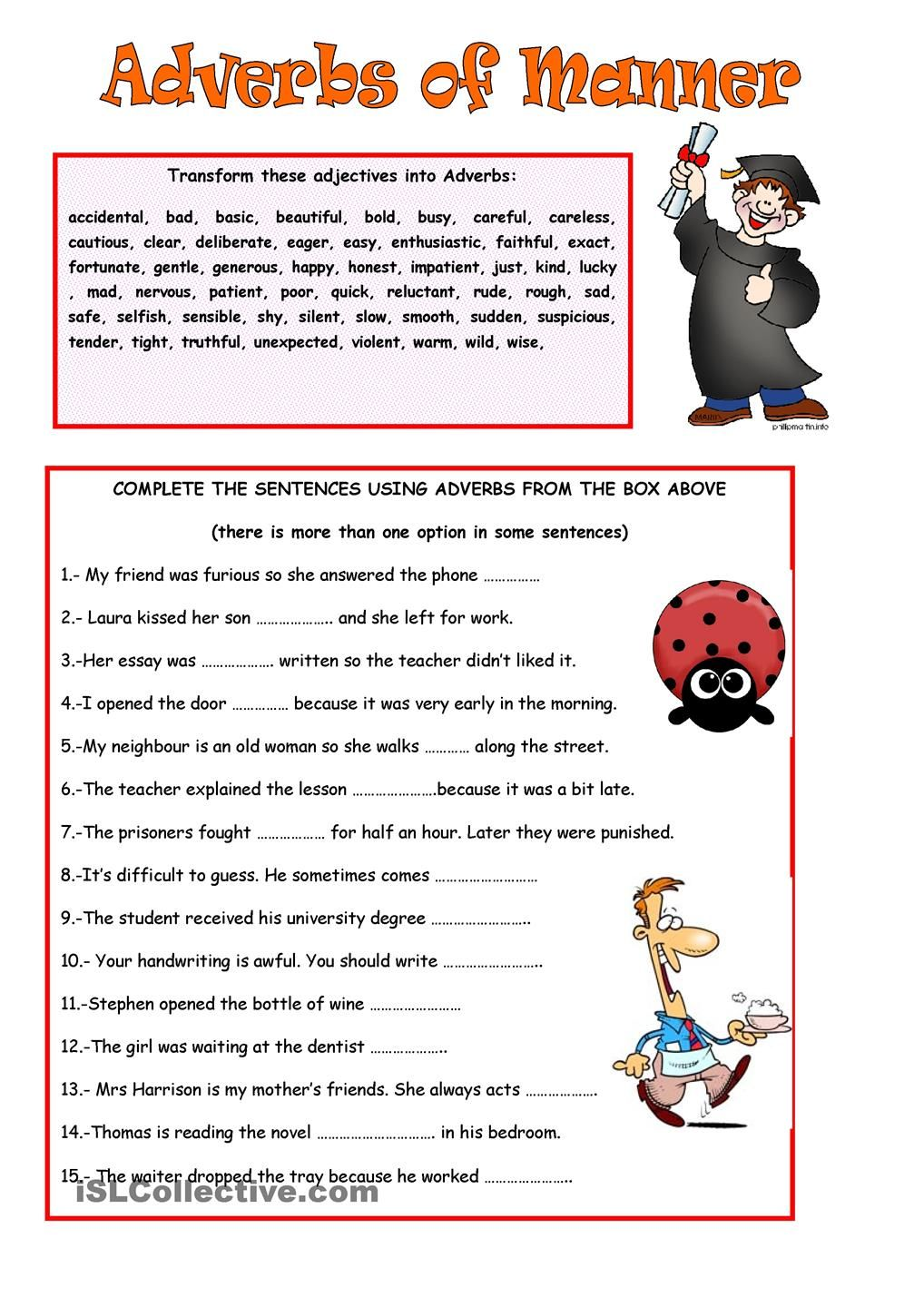 Workbooks worksheets on kinds of adverbs : ADVERBS OF MANNER | ESL 2 | Pinterest | Adverbs, Manners and ...