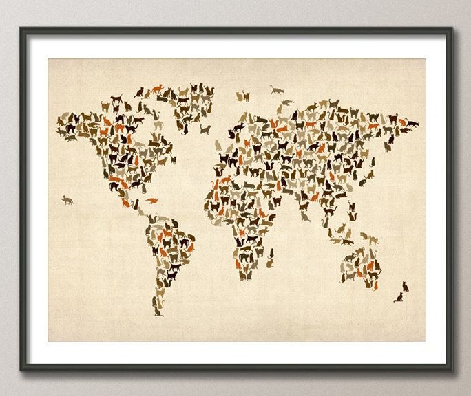 Cats map of the world map art print 18x24 inch 180 1499 via cats map of the world map art print 18x24 inch 180 gumiabroncs Gallery