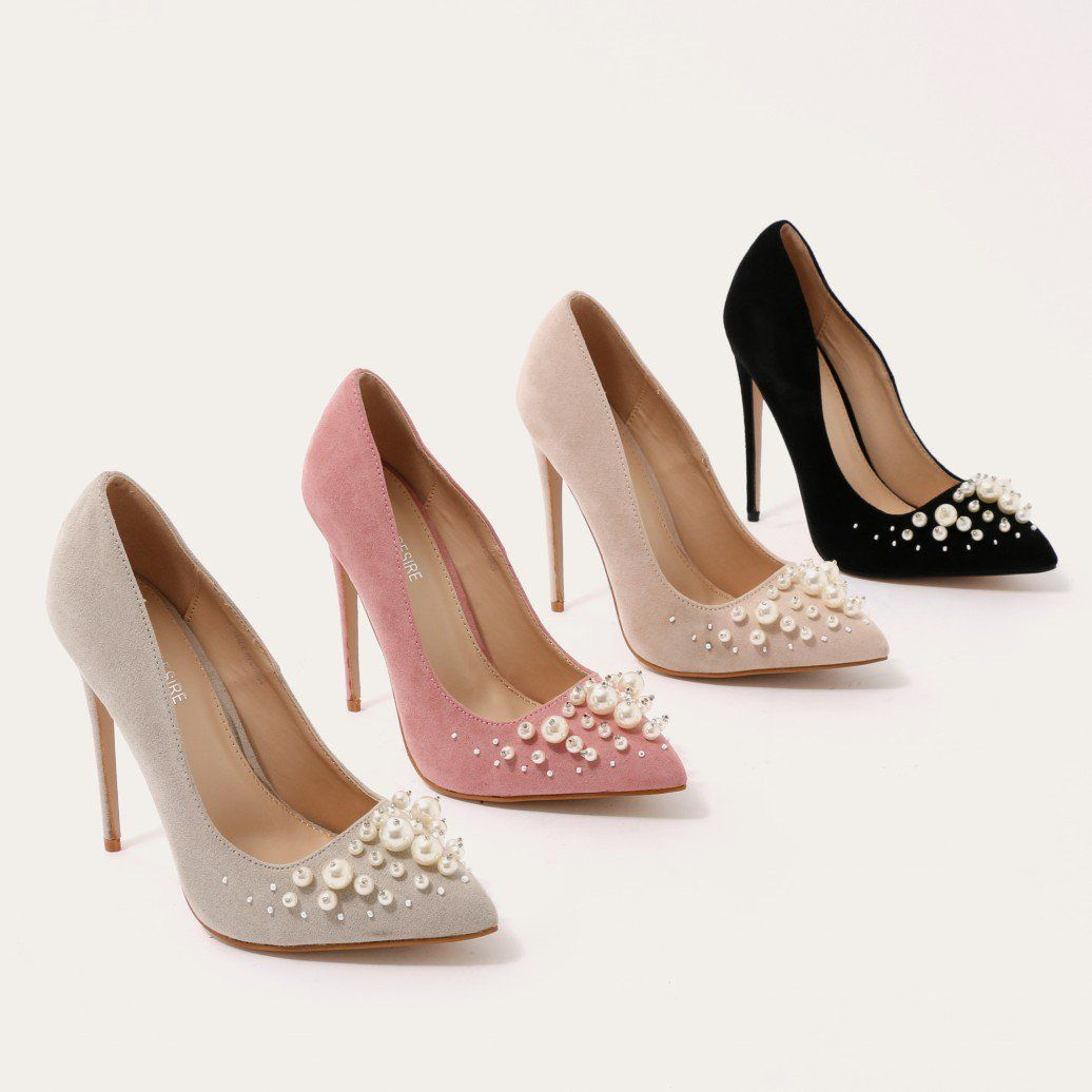 c7a802500911 ... Blush Pink Faux Suede. Pearls aren t reserved for mermaids you know.  This classic court shoe with pointed toe and stiletto heel up the ante with  pearl ...