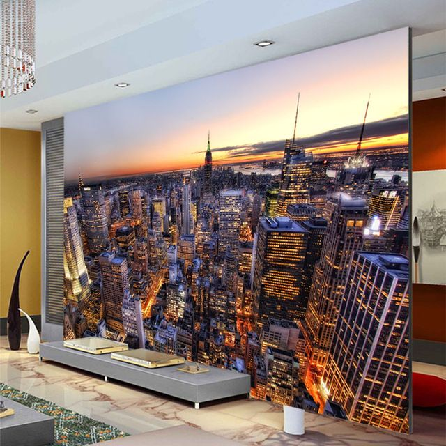 Manhattan city night wallpaper modern photo wallpaper for Modern 3d wallpaper for bedroom