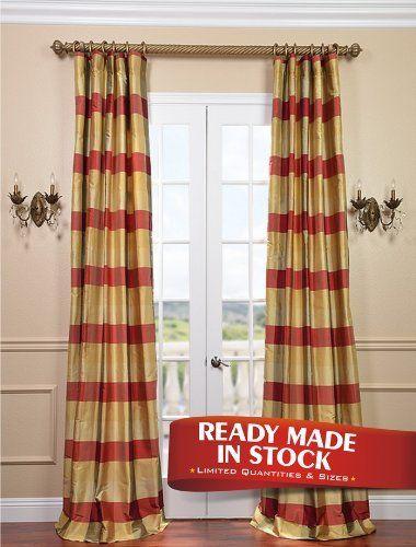 Dynasty Silk Taffeta Plaid Curtain 189 00 Red Yellow Tan