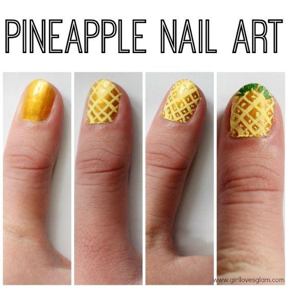 Super easy tutorial to create pineapple nail art on www.girllovesglam.com