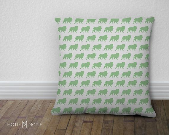 Lion Silhouette Print Mint Green Decorative Pillow from by MotifMotifShop, $57.99 #throwpillow #homedecor