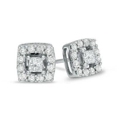 1 2 Ct T W Princess Cut Diamond Frame Stud Earrings In 10k White