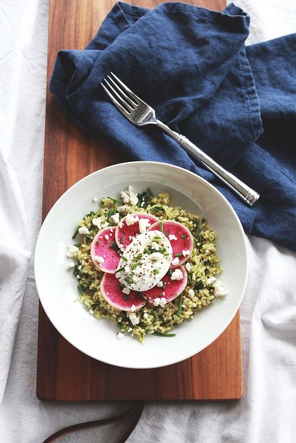 Poached Egg, Radish & Feta over Herbed Rice | perpetuallychic.com by laurenhcraig, via Flickr