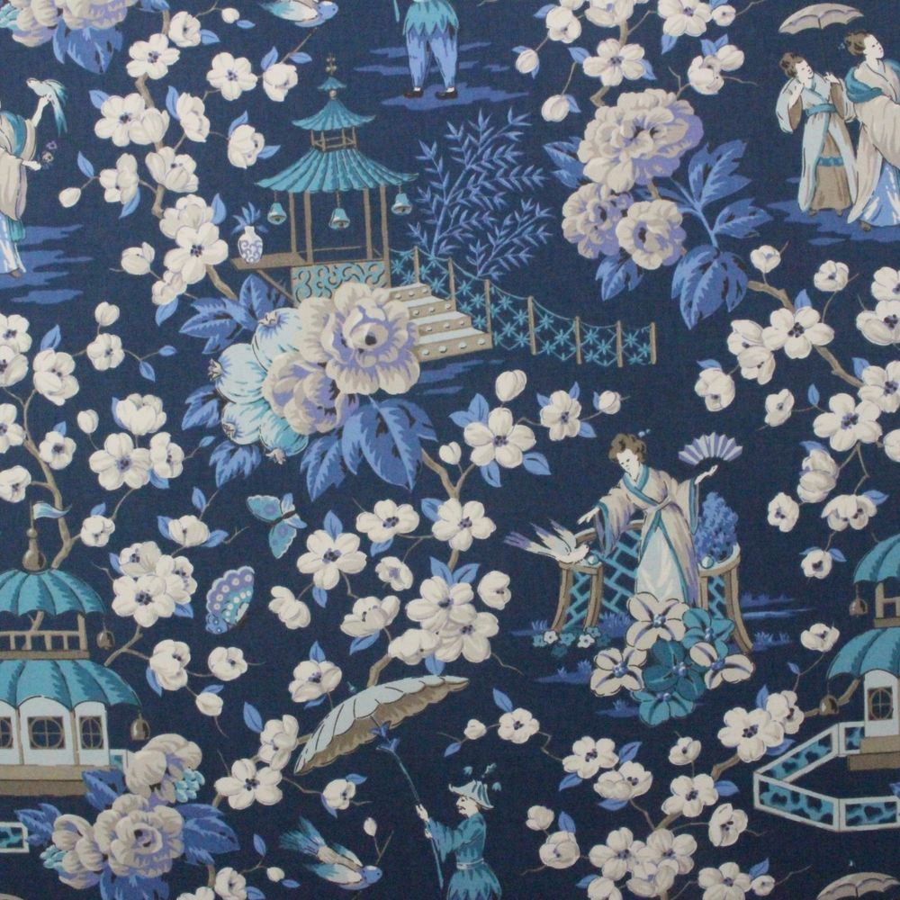 Details about P KAUFMANN SUMMER PALACE ZEPHYR BLUE CHINOSERIE ASIAN