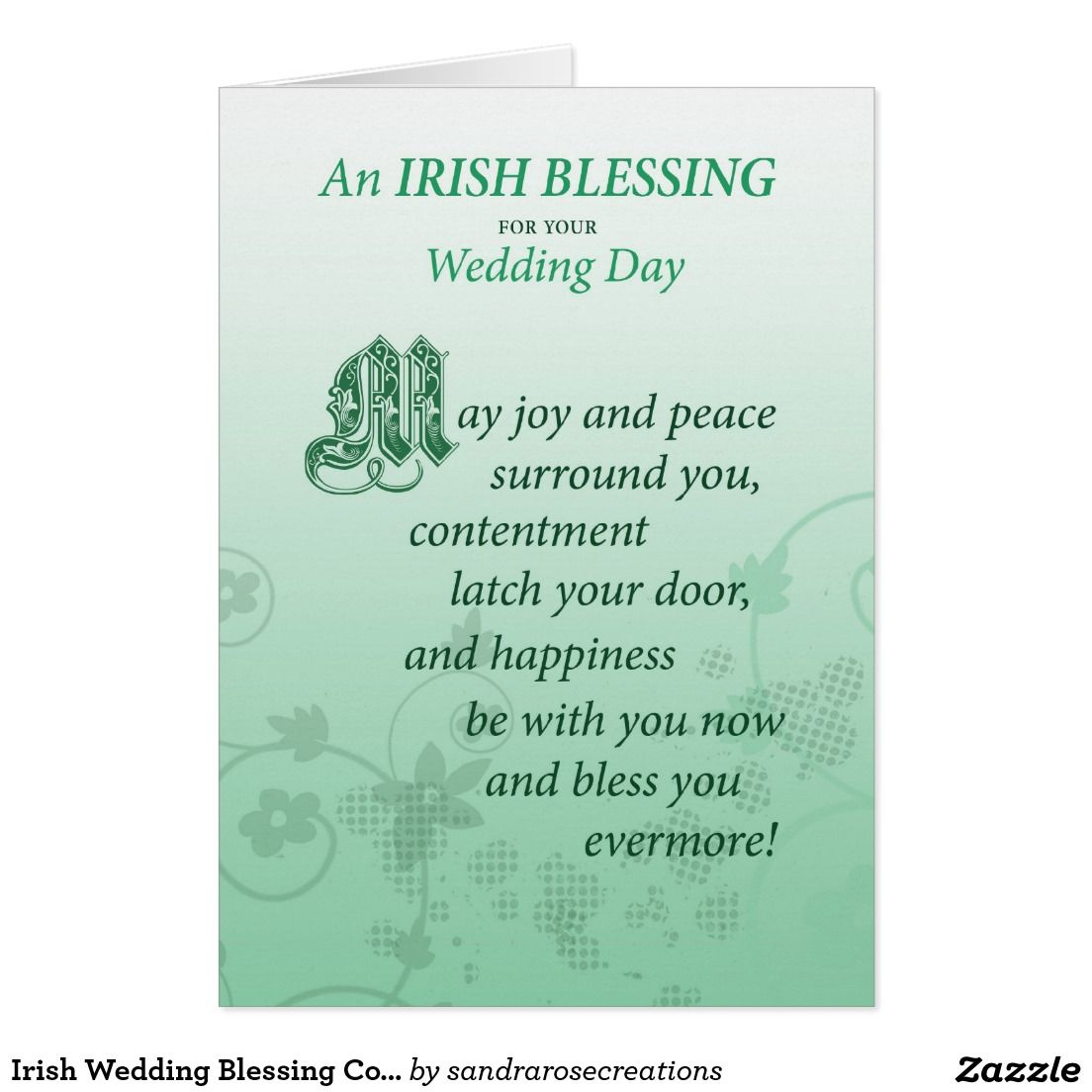 Irish Wedding Blessing Congratulations Card | Wedding ...