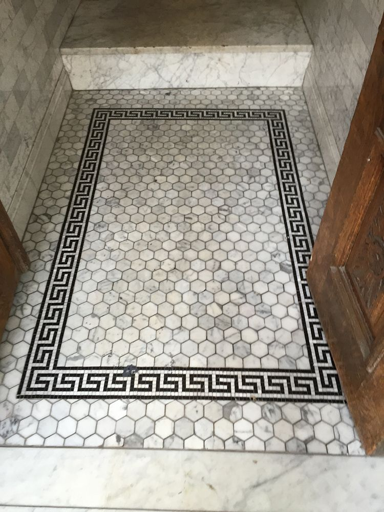 Black And White Marble Floor Tile Greek Key Border Bathroom Floor
