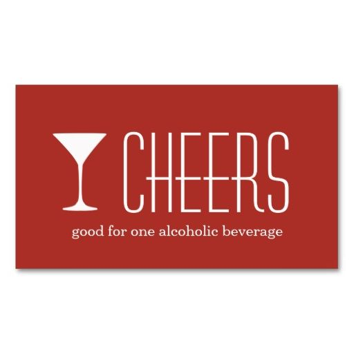 Red Martini Corporate Logo Event Drink Ticket | Red Martini, Card
