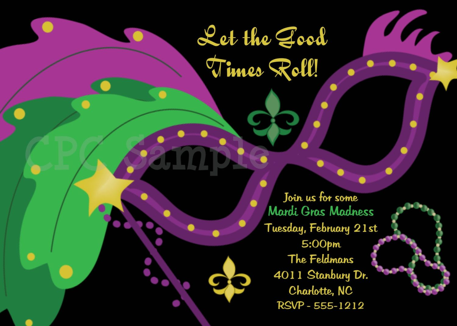 Mardi Gras Party Invitation | Parties, Holidays & Event Ideas ...