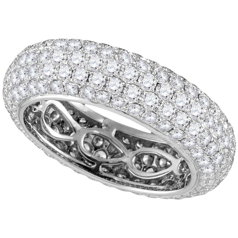 14k White Gold Womens Round Diamond Fashion Band Ring 31