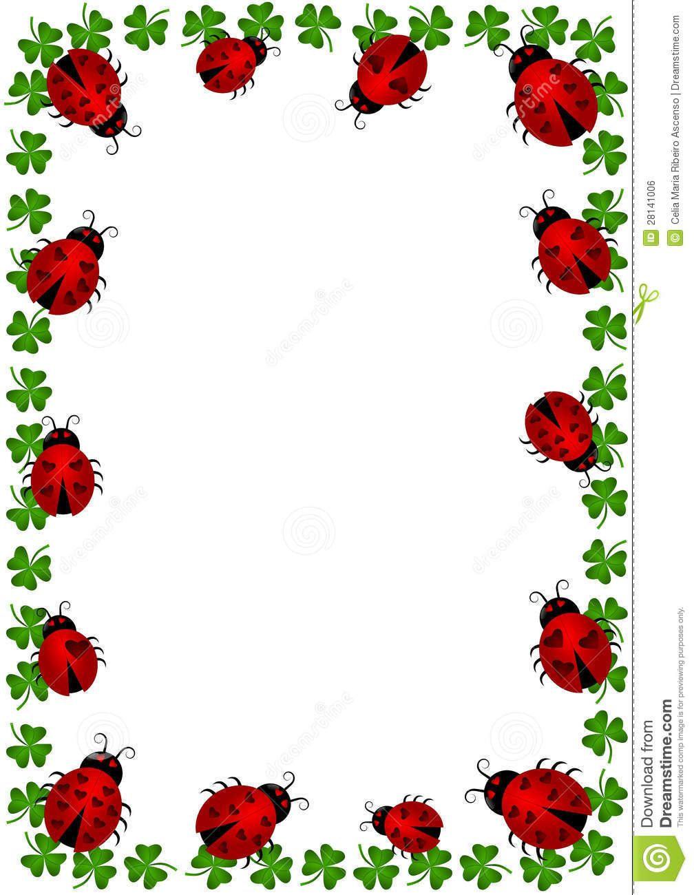 Ladybugs Border Frame With Clovers - Download From Over 64 Million ...