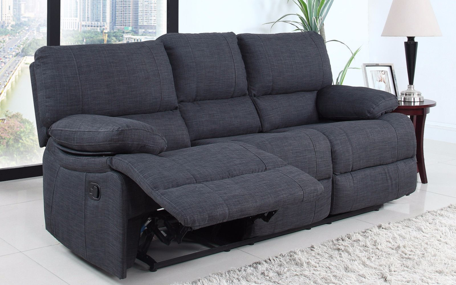 Sensational Traditional Dark Grey Fabric Oversize Recliner Sofa Grey Pdpeps Interior Chair Design Pdpepsorg