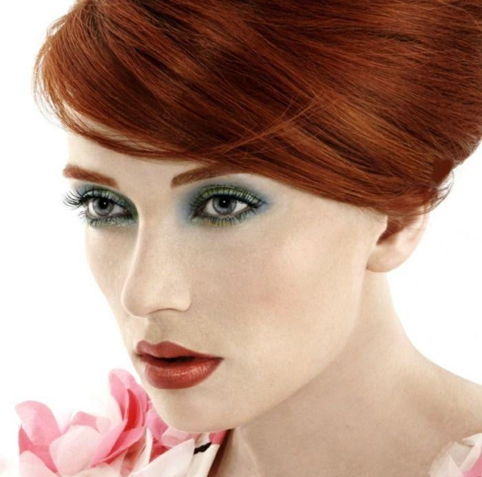 Rote Haare Blasse Haut Lippenstift Rot Braun Nuancen Make Up Für