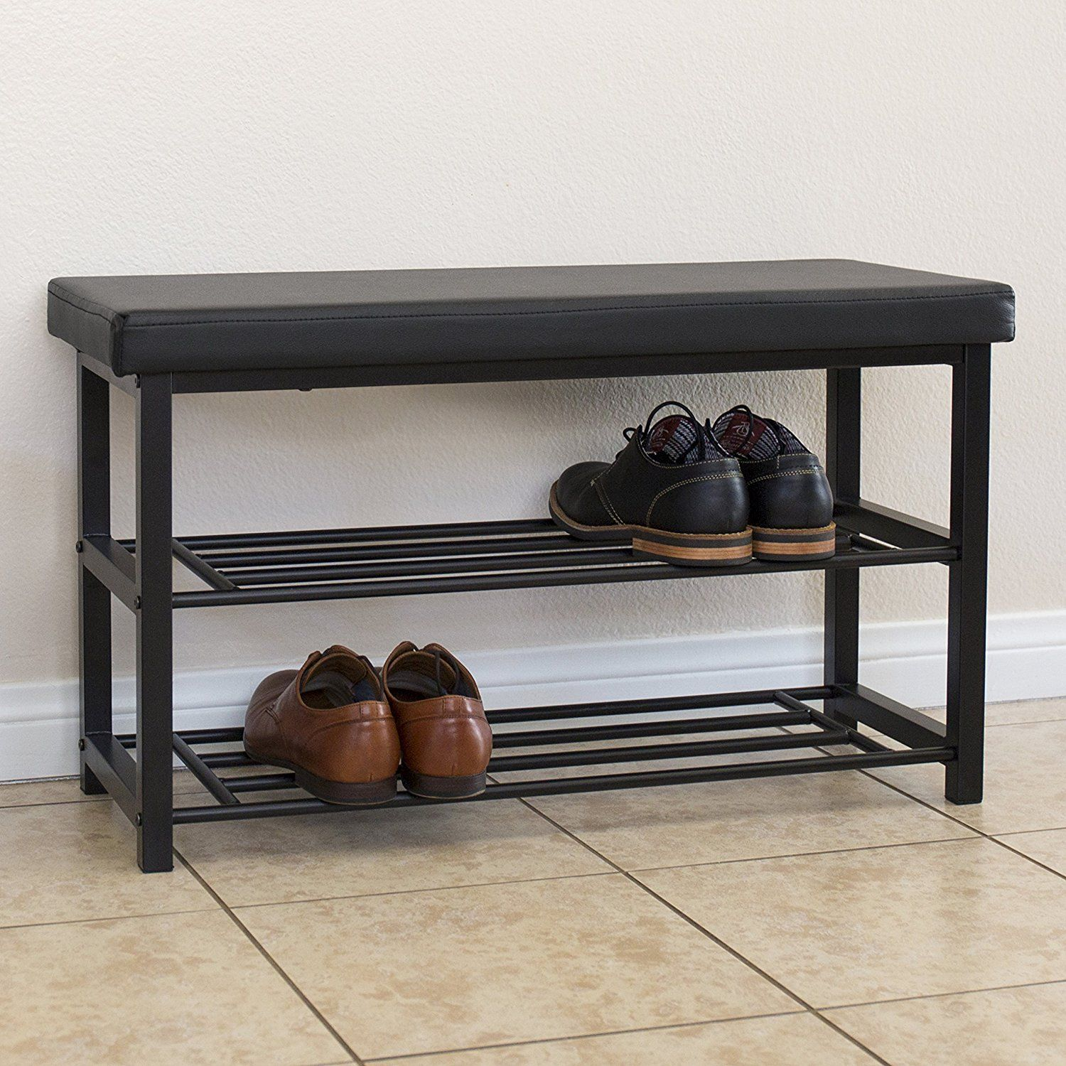 Amazon Com Best Choice Products 2 Tier Metal Storage Bench Shoe Rack Organize W Leather Top Black Kitche Metal Shoe Rack Shoe Rack Bench Shoe Rack Entryway