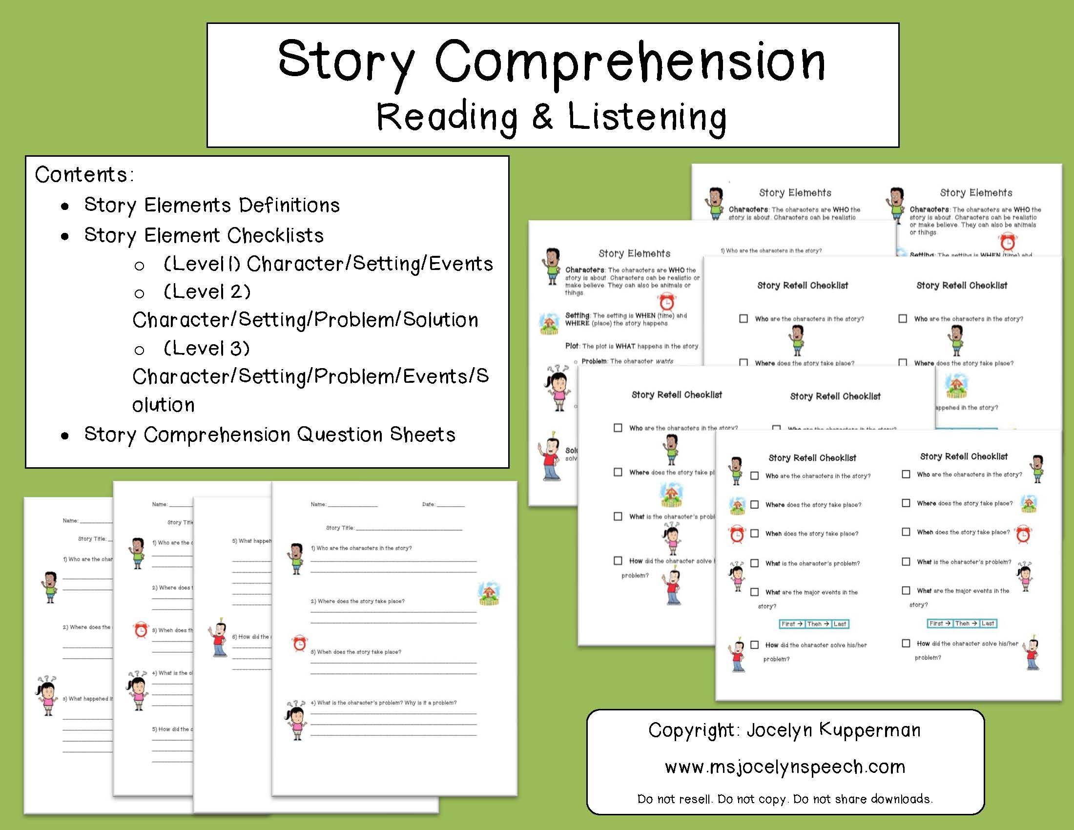Worksheets Listening Comprehension Worksheets story comprehension reading listening httpwww teacherspayteachers com