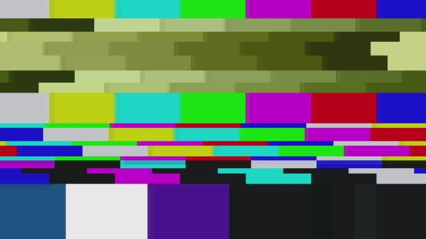Color Bars Data Glitches. a Stock Footage Video