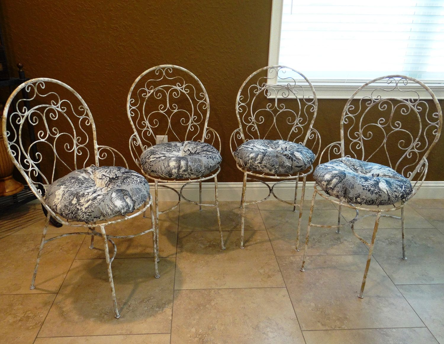 Refurbished Vintage Metal French Country Bistro Chairs Via