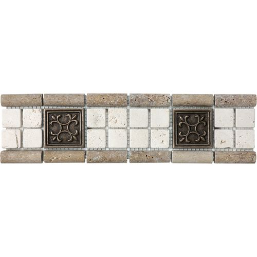 """Listellos And Decorative Tile Zoomed 12"""" X 3"""" Chiaro And Noce With Metal Listello Travertine"""
