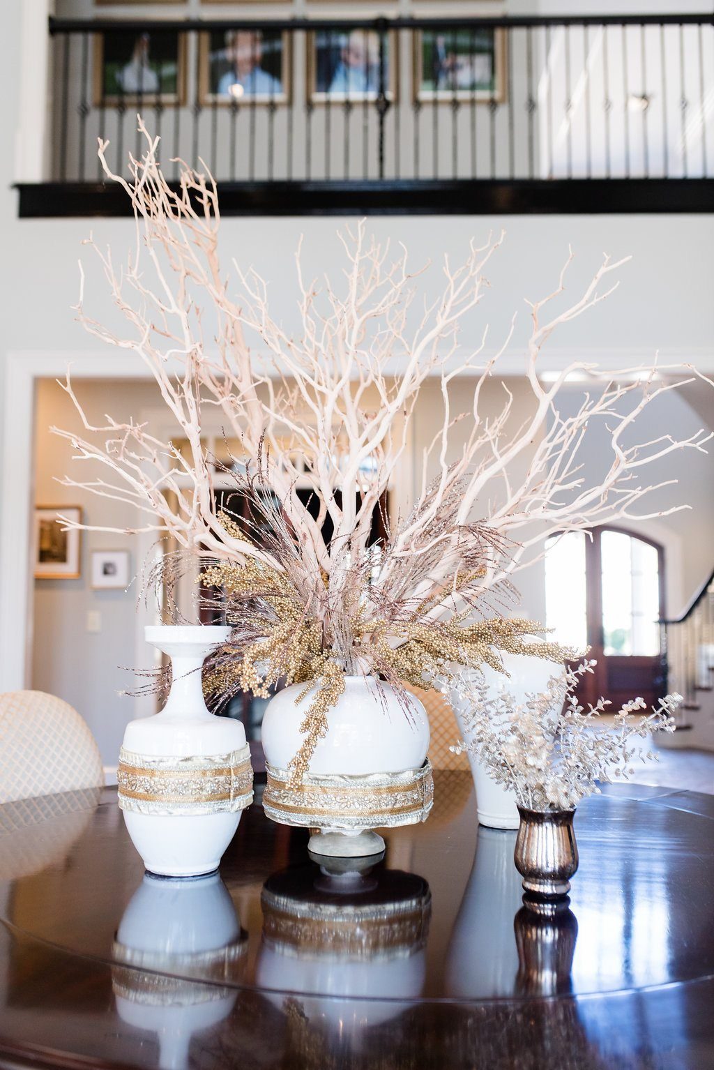 Easy Dining Room Centerpiece Using Manzanita Branches Bluegraygal Dining Room Centerpiece Dining Room Table Centerpieces Dinning Room Centerpieces
