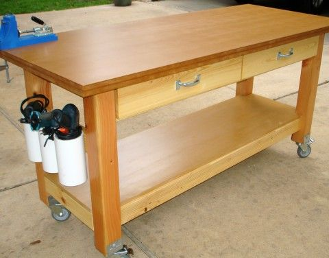 Rolling Workbench with Drill Holders – Plans For Building A Workbench In A Garage