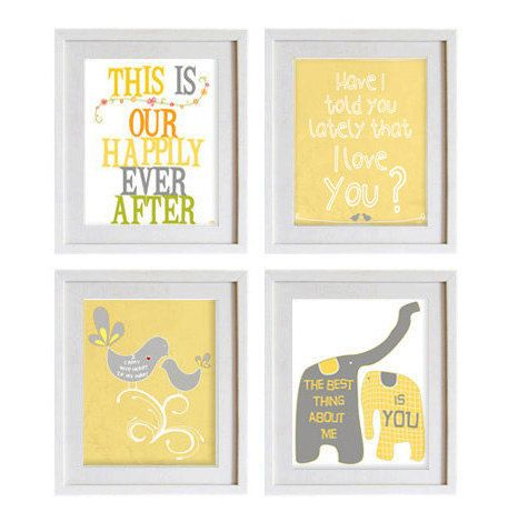 Housewares wall decor gray white yellow emotional love art prints ...
