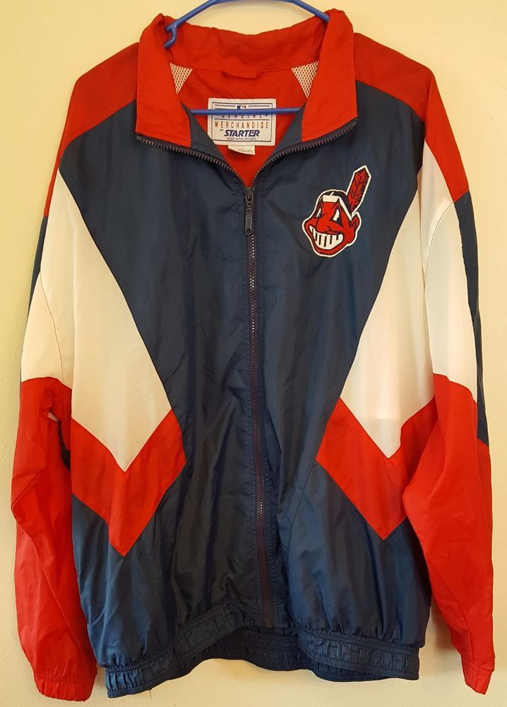 low priced b345c fb9f0 Details about Vintage Starter Cleveland Indians Full Zip ...
