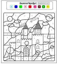 Coloriage Chateau Gs.Coloriage Magique Princesse Chevaliers Coloring For Kids