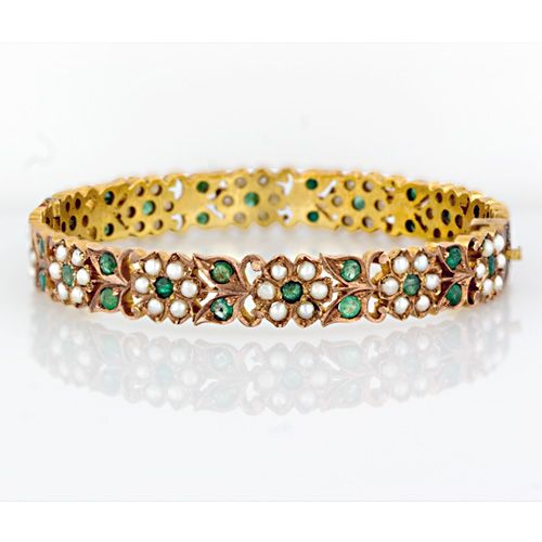 Vintage Emerald And Seed Pearl Bangle Pearl Bangle Beautiful
