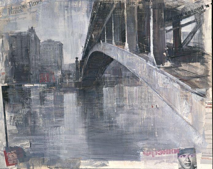 Alexey Alpatov, metro bridge, 2008 - mixed media on canvas, 80/100cm