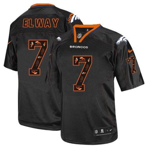 Men s Nike Denver Broncos  7 John Elway Elite New Lights Out Black NFL  Jersey www.buybroncosjersey.com c0200fab5