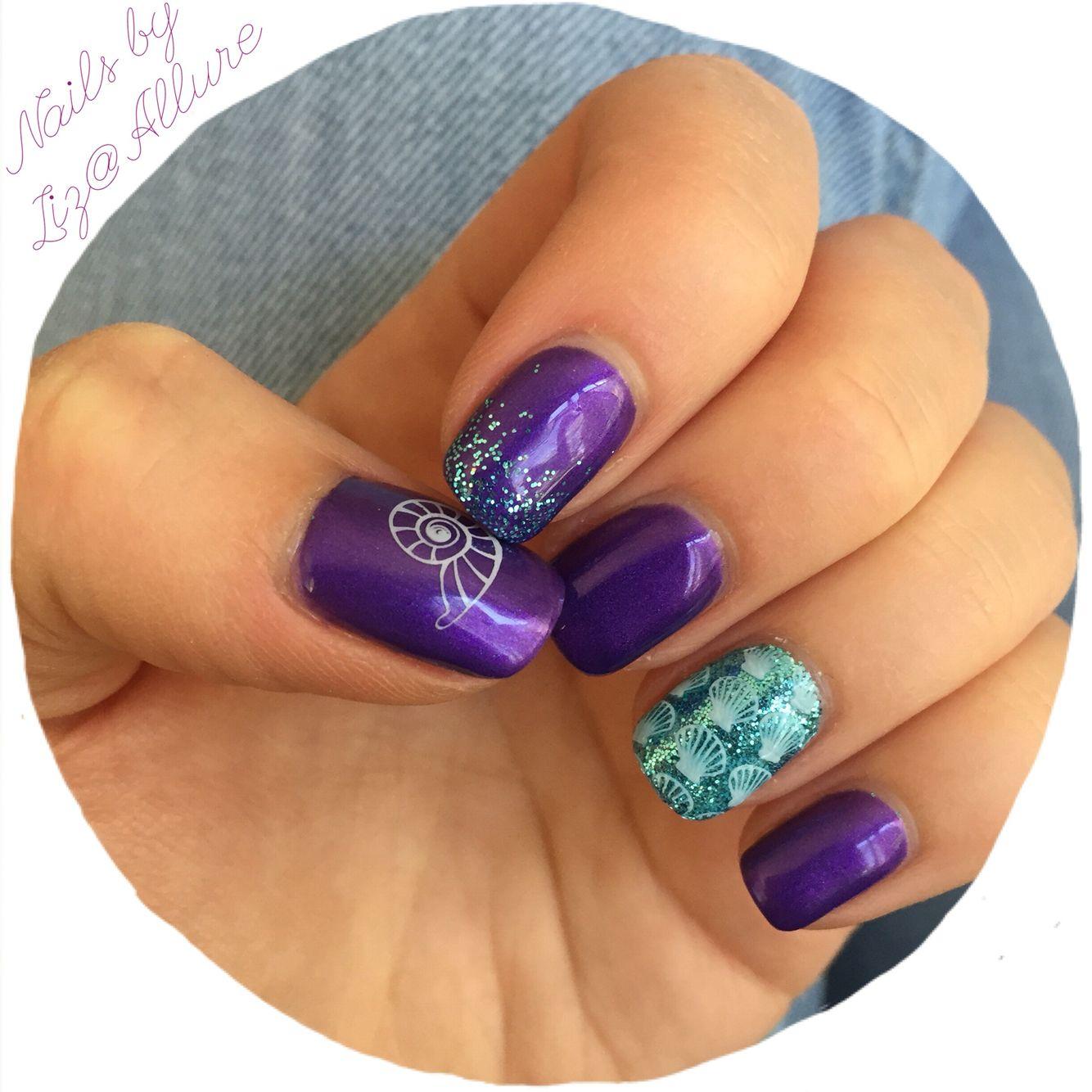 Mermaid Nails Gel Glitter Purple Aqua Liz Allure Mermaid Nails Little Mermaid Nails Nails