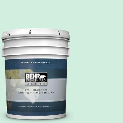 Behr Ultra 5 Gal 480c 2 Pastel Jade Satin Enamel Interior Paint And Primer In One 775005 Interior Paint Behr Exterior Paint