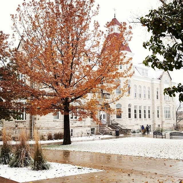 We had our first snowfall of the season at #CarrollU today! #snow #winter