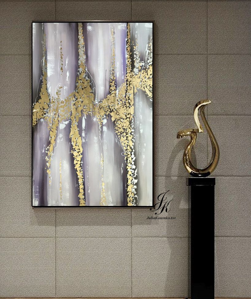 Large abstract acrylic painting large wall art gold leaf art modern