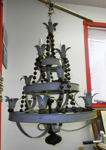 Original Antique 3 Tier Wood Tin Chandelier Unique Funky RARE   eBay pinning it again to show another angle I like its quirkiness