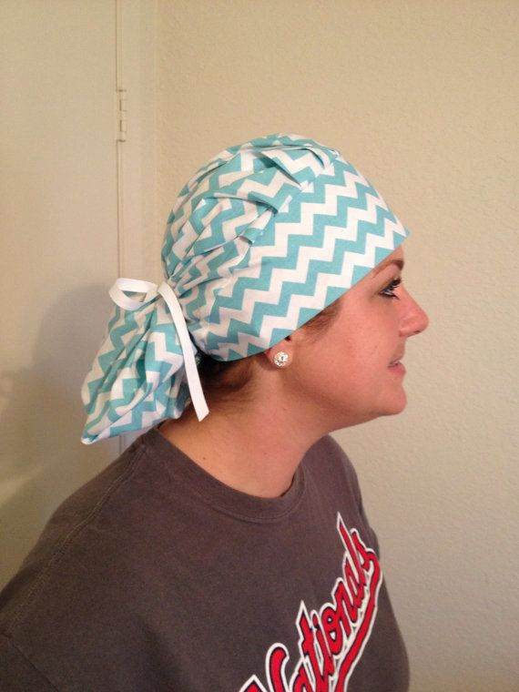 Women s Ponytail Bouffant Scrub Hat in Chevron pattern on Etsy ... 6d973b21ee4
