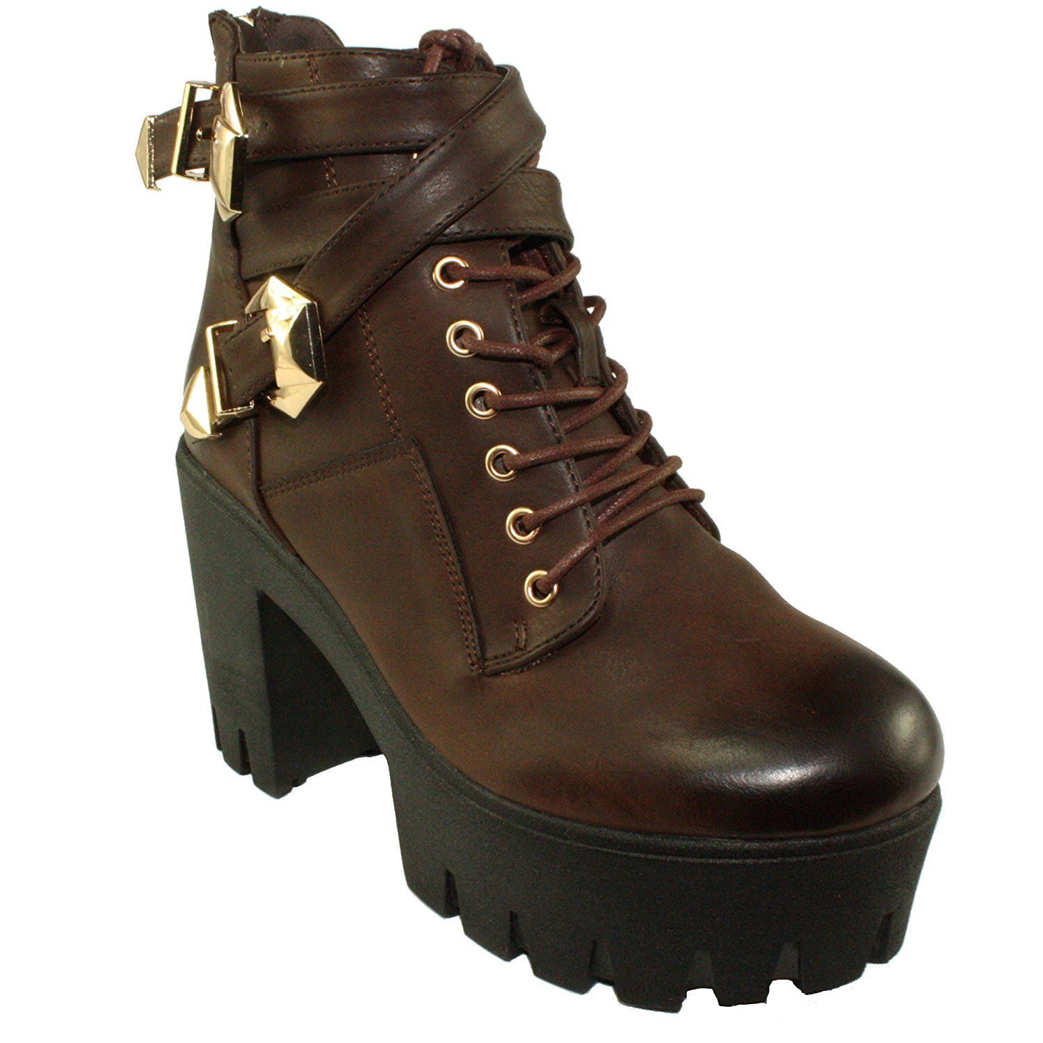 BellaMarie Women's Diva-11 Lug Sole Lace up Platform Chunky Heel Zip-up Closure Ankle Boots