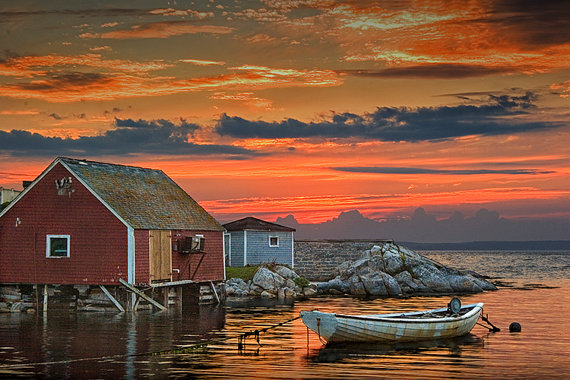 Last Light At Peggy S Cove Harbor A Quaint Fishing Village Etsy