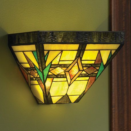 Art Glass Battery Operated Wall Sconce - Arts and Crafts | home ...